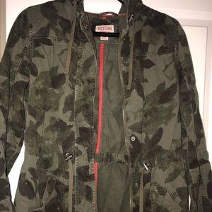 Green lightweight hooded jacket
